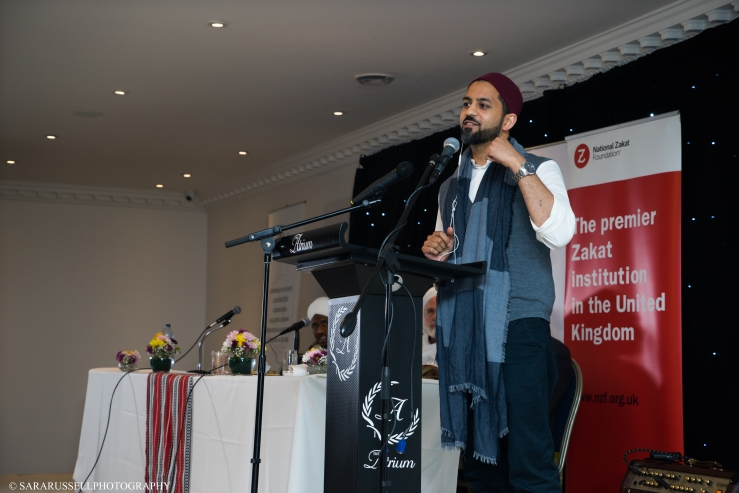 Singer Faraz Yousufzai performing a spoken word poem