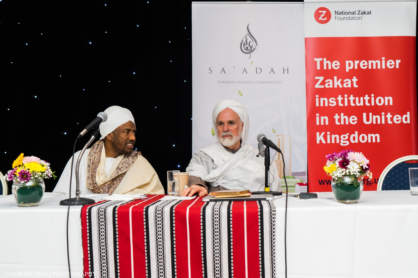 Shaykh Ahmed Babakir (left) and Dr Umar (right) at The Atrium, London delivering a talk on Philanthropy in Islam